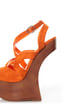 Privileged Sherman Orange Strappy Heelless Platforms
