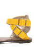 Qupid Athena 514A Yellow & Taupe Patterned Flat Sandals