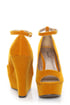 Qupid Finder 69 Mustard Velvet Sculpted Peep Toe Platform Wedges
