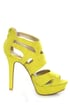 Qupid Gaze 239 Yellow Suede Strappy Bootie Pumps