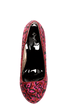 Qupid Neutral 107 Red Fuchsia Leopard Glitter Platform Pumps
