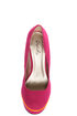 Qupid Neutral 266 Fuchsia Velvet Neon-Trimmed Platform Pumps