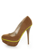 Qupid Neutral 266 Taupe Velvet Neon-Trimmed Platform Pumps