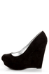 Qupid Worthy 01X Black Suede Platform Wedges