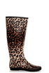 Raindrop Leopard Tan Animal Print Rain Boots