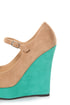 Diva Lounge Madison 07 Tan and Turquoise Peep Toe Wedges