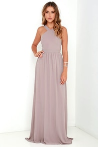 4cb8a2f3f0e Beautiful Taupe Dress - Maxi Dress - Homecoming Dress
