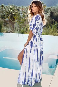 Blue Tie Dye Dress Wrap Dress Maxi Dress Kimono Dress