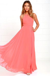 Beautiful Coral Pink Dress Maxi Dress Backless Maxi Dress
