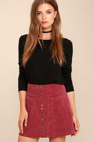 21bb8ce4740 Cute Wine Red Corduroy Skirt - Button Front Mini Skirt