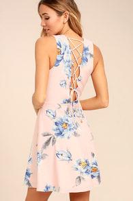 5d480b5ce78a Cute Blush Pink Dress - Floral Print Dress - Lace-Up Dress