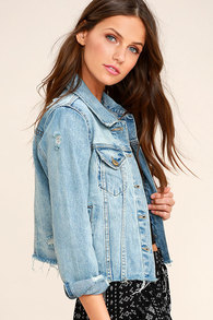 9e5bc61fce Chic Blue Denim Jacket - Distressed Jacket - Cropped Denim Jacket