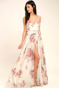 Lovely cream floral print dress wrap dress maxi dress elegantly inclined cream floral print wrap maxi dress mightylinksfo