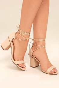 8767db6fd155 Beige Heels - Lace-Up Heels - Vegan Leather Heels -  38.00