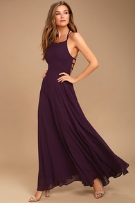 1b3f998ddef Purple Dress - Lace-Up Dress - Backless Dress - Maxi Dress