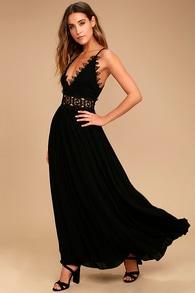 ed175de35d7 Lovely Black Maxi Dress - Lace Maxi Dress - Plunge Neck Maxi