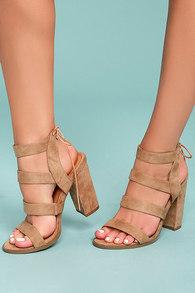 bf7230533ff5 Beige High Heel Sandals - Vegan Suede Sandals - Block Heel