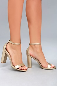 b2558cd7f6f1 Sexy Gold Heels - Ankle Strap Heels -Vegan Leather Heels