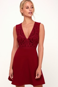 Florentia Wine Red Crochet Lace Skater Dress