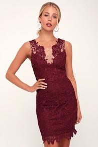 Last Dance Burgundy Lace Bodycon Dress