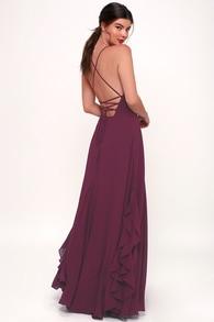 Lorenz Plum Purple Ruffled Lace Up Maxi Dress