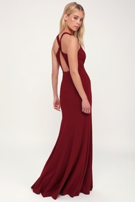 Always Be In Love Wine Red Twist Back Maxi Dress