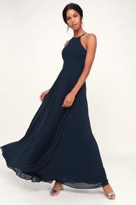 Lulus Night Of Romance Navy Blue Sleeveless Maxi Dress