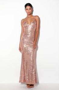 Esteem Rose Gold Sequin Backless Maxi Dress