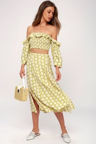 Marietta Washed Green Floral Print Midi Wrap Skirt 5
