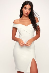 Classic Glam White Off-the-Shoulder Bodycon Dress 2