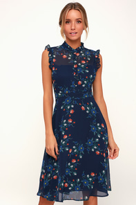 Porch Swing Navy Blue Floral Print Midi Dress 3