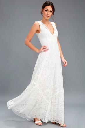 Lace wedding dresses gowns white bridal dresseslulus lulus melia white lace maxi dress junglespirit Images