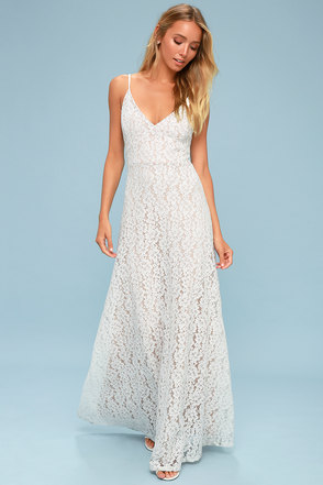Lace wedding dresses gowns white bridal dresseslulus cressida white lace maxi dress junglespirit Image collections