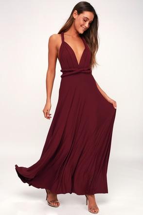 Tricks Of The Trade Burgundy Maxi Dress