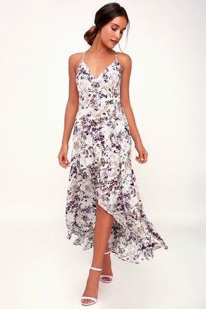 Vacation dresses resort wear floral dresses at lulus singing at sunset white and purple floral print midi wrap dress mightylinksfo