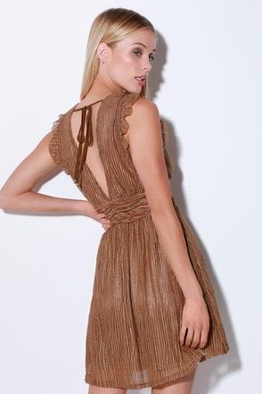 moon river stun and only brown metallic stripe mini dress