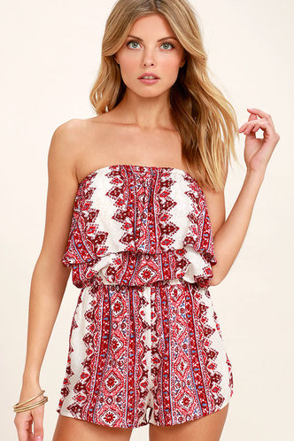 f2454ebde37f Billabong New Story - Red Print Romper - Strapless Romper -  44.95