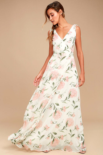 White Maxi Dress - Floral Maxi Dress - Plunging Maxi Dress