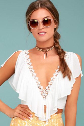 e9824fbf27ea4 Boho White Top - Crop Top - Lace Top - Flounce Top