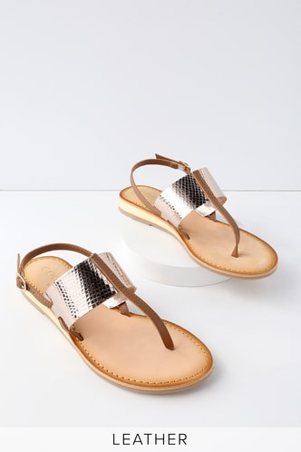 Valenti Tan Leather Thong Sandals 4 ...