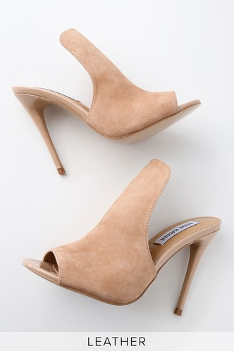 30662bd5ac3 Sinful Nude Suede Leather Peep-Toe Mules 2 ...
