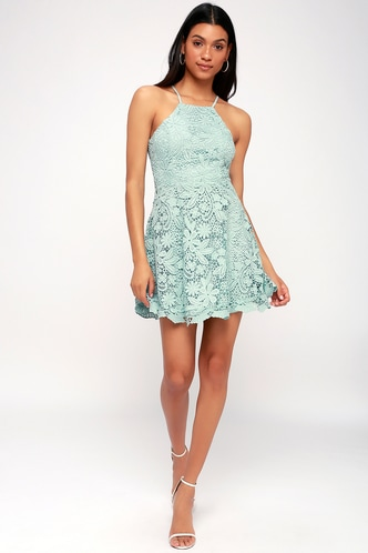 Love In The Air Mint Blue Lace Skater Dress 1 ...