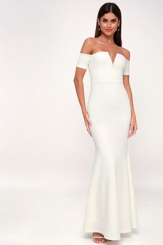 Lace wedding dresses gowns white bridal dresseslulus lynne white off the shoulder maxi dress 1 junglespirit Gallery