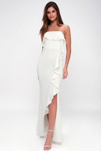 Lace wedding dresses gowns white bridal dresseslulus aquarius white strapless ruffled maxi dress 1 junglespirit Image collections