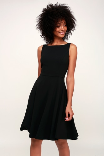 Day wedding guest dresses and wedding guest attire lulus fall for you black skater dress 1 junglespirit Image collections