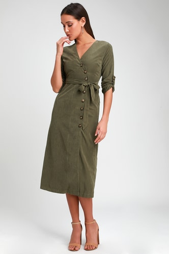 05b44f0dbf2 Pull Me Close Olive Green Suede Button-Up Midi Dress 1 ...