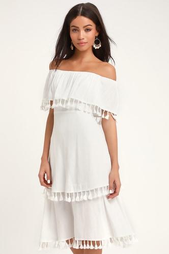fe49c5cfa39 Pensacola White Off-the-Shoulder Tasseled Midi Dress 3 ...