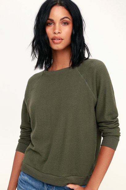 CARDIFF OLIVE GREEN LONG SLEEVE SWEATSHIRT PROJECT SOCIAL T