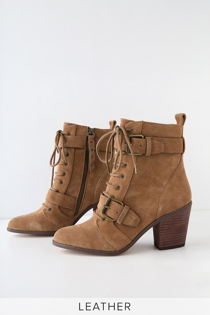 CARLETON LIGHT BROWN SUEDE LEATHER LACE-UP MID-CALF BOOTIES