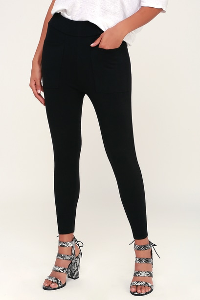 COOLED OUT BLACK KNIT SWEATER LEGGINGS